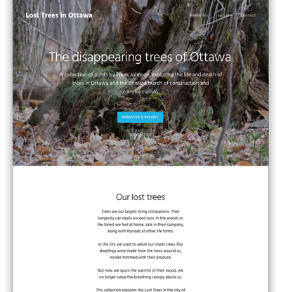 Screenshot of Lost Trees website